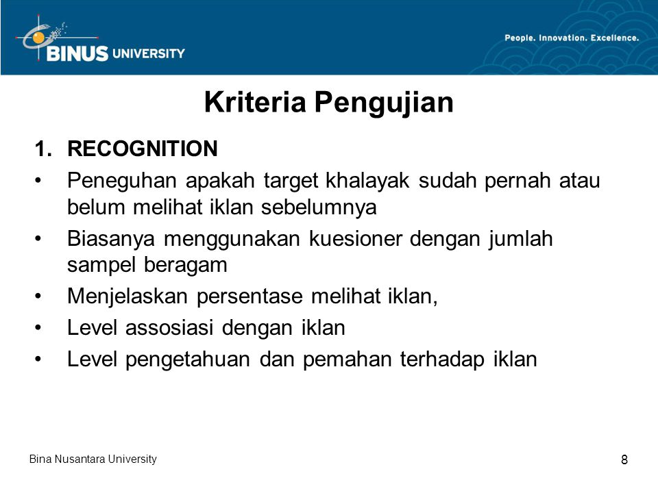 Kriteria Pengujian RECOGNITION