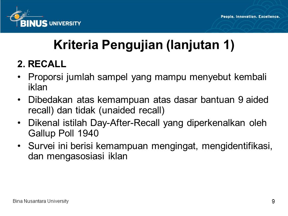 Kriteria Pengujian (lanjutan 1)