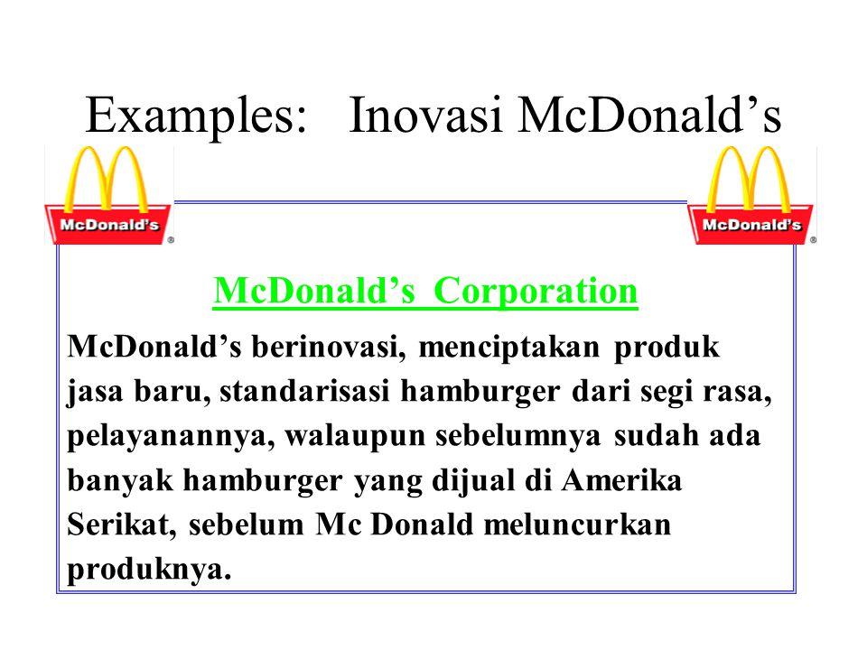 Examples: Inovasi McDonald's