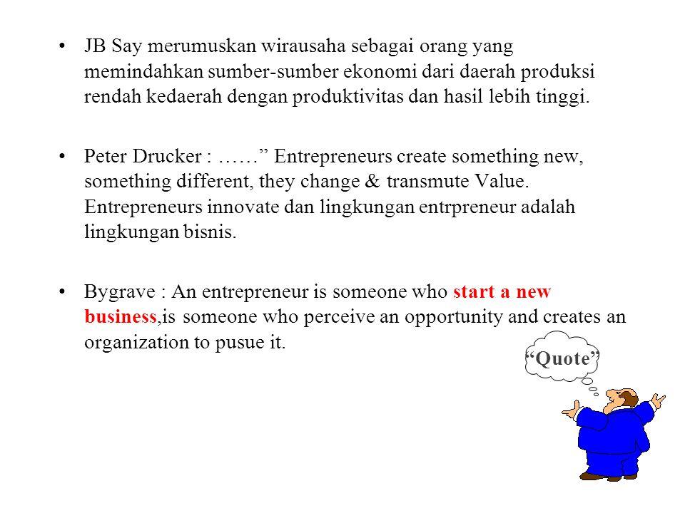 JB Say merumuskan wirausaha sebagai orang yang memindahkan sumber-sumber ekonomi dari daerah produksi rendah kedaerah dengan produktivitas dan hasil lebih tinggi.
