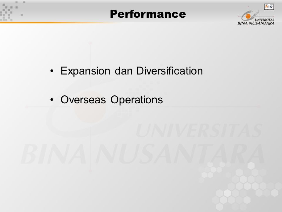 Performance Expansion dan Diversification Overseas Operations