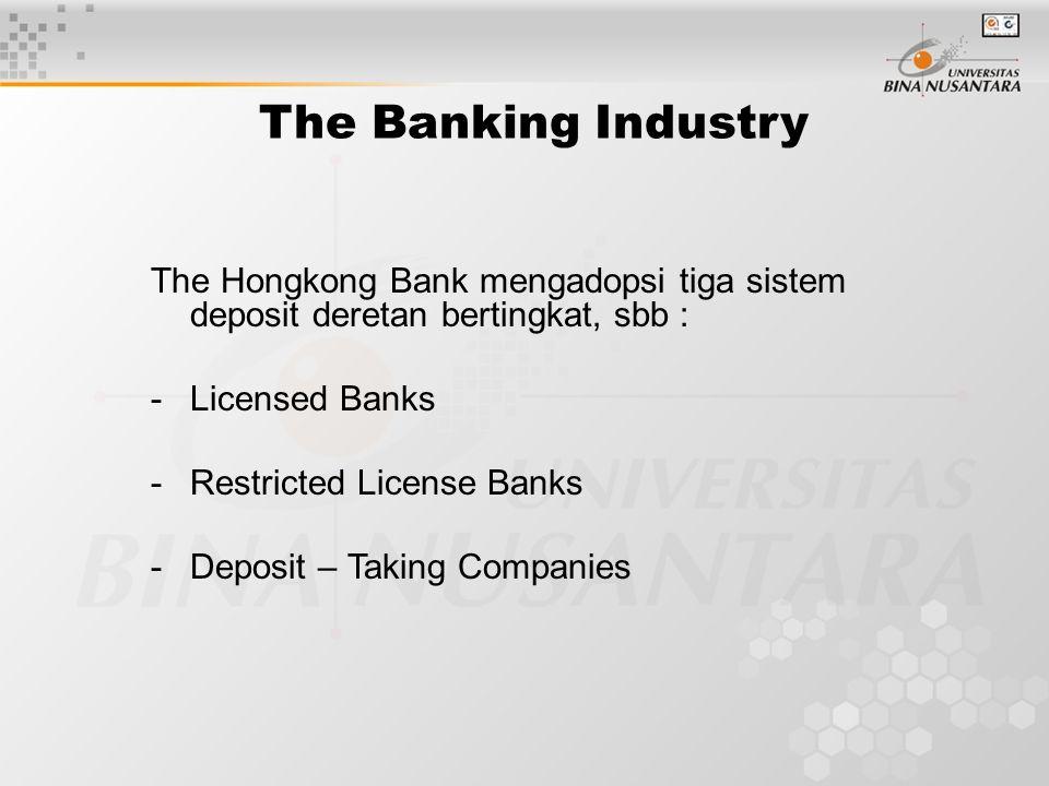 The Banking Industry The Hongkong Bank mengadopsi tiga sistem deposit deretan bertingkat, sbb : Licensed Banks.