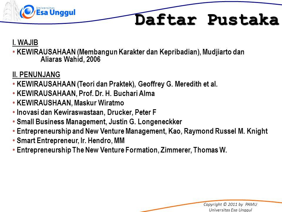 Daftar Pustaka I. WAJIB. KEWIRAUSAHAAN (Membangun Karakter dan Kepribadian), Mudjiarto dan Aliaras Wahid, 2006.