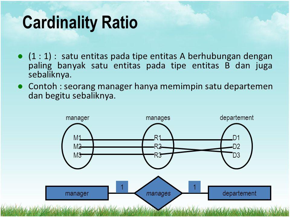 Cardinality Ratio (1 : 1) : satu entitas pada tipe entitas A berhubungan dengan paling banyak satu entitas pada tipe entitas B dan juga sebaliknya.