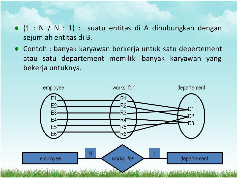 (1 : N / N : 1) : suatu entitas di A dihubungkan dengan sejumlah entitas di B.