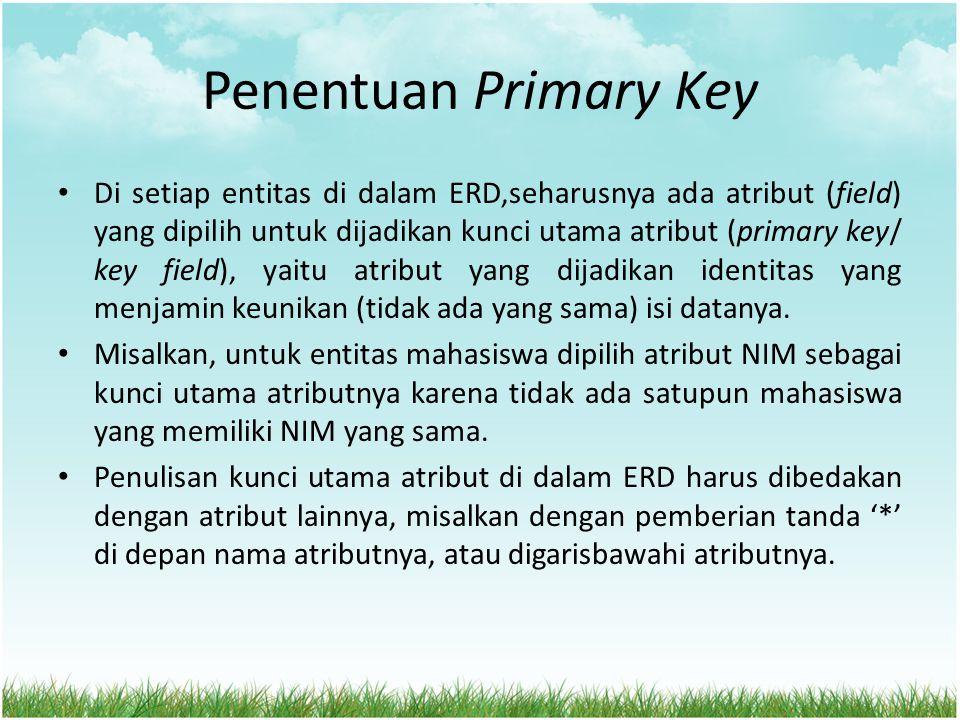 Penentuan Primary Key