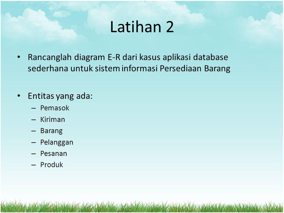 Latihan 2 Rancanglah diagram E-R dari kasus aplikasi database sederhana untuk sistem informasi Persediaan Barang.