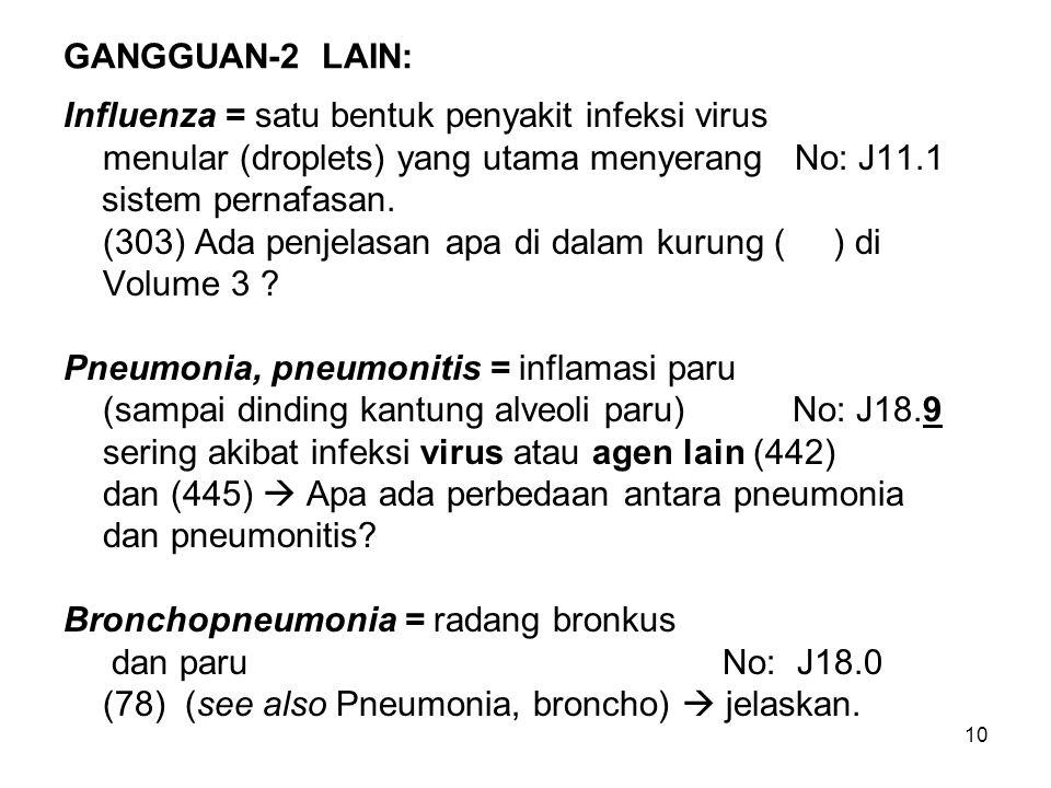 GANGGUAN-2 LAIN: Influenza = satu bentuk penyakit infeksi virus. menular (droplets) yang utama menyerang No: J11.1.