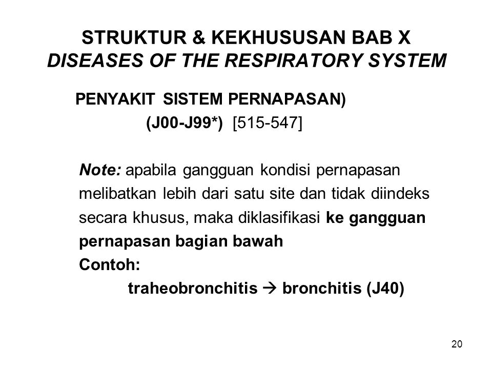 STRUKTUR & KEKHUSUSAN BAB X DISEASES OF THE RESPIRATORY SYSTEM