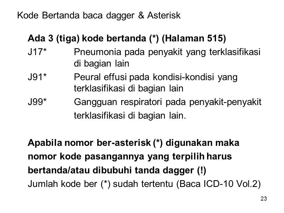 Kode Bertanda baca dagger & Asterisk
