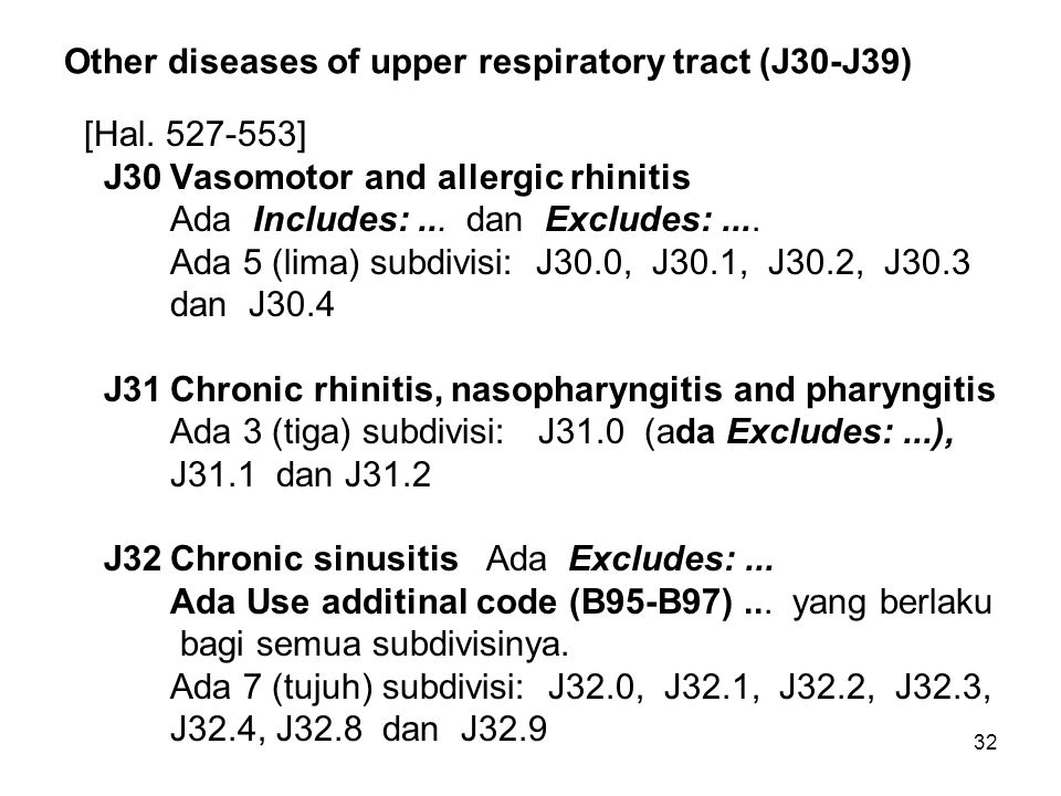 Other diseases of upper respiratory tract (J30-J39)