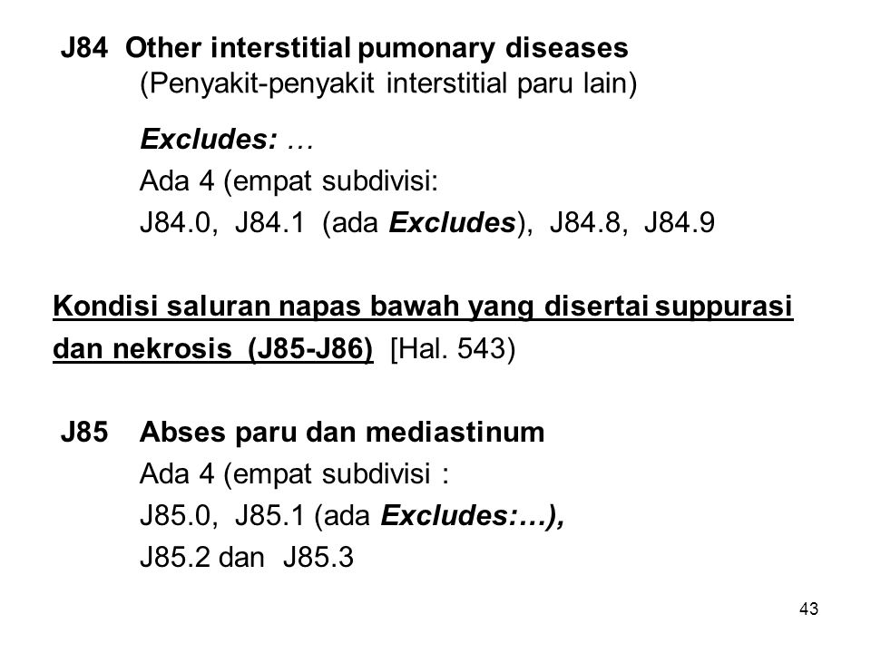 J84 Other interstitial pumonary diseases