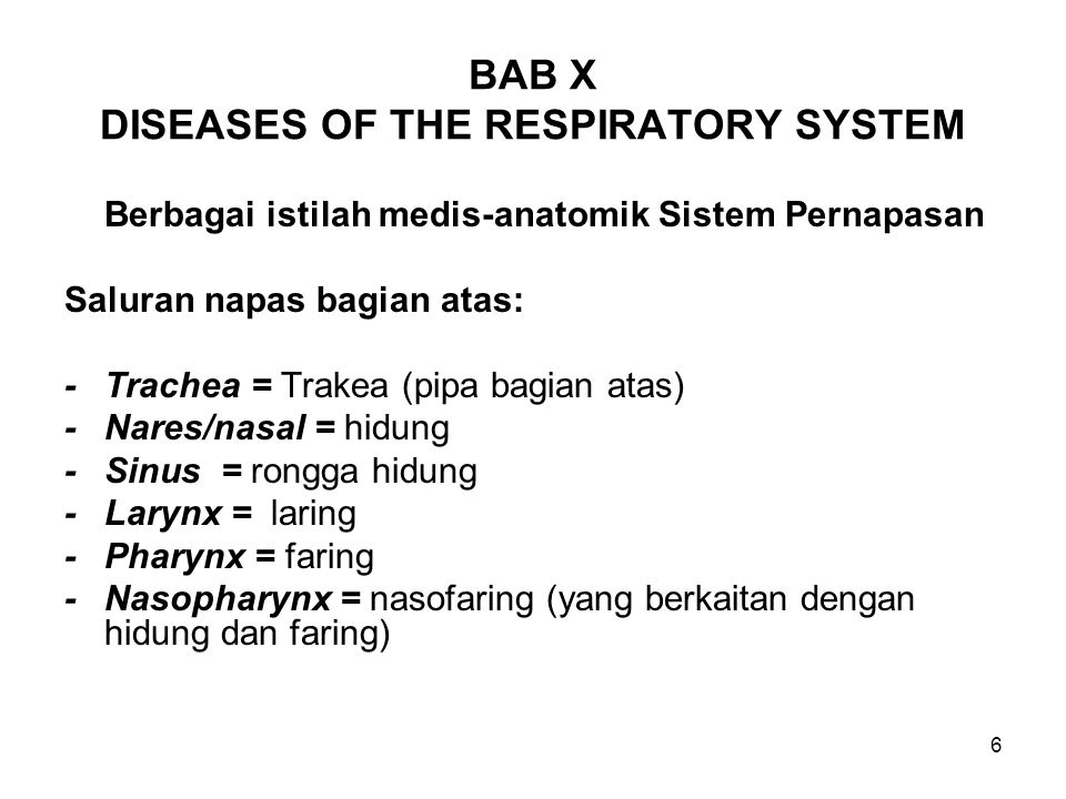 BAB X DISEASES OF THE RESPIRATORY SYSTEM