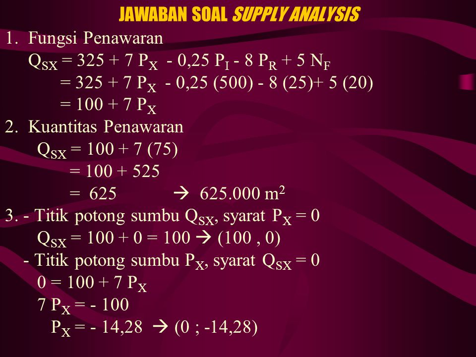 JAWABAN SOAL SUPPLY ANALYSIS