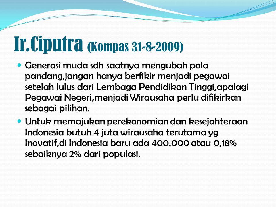 Ir.Ciputra (Kompas 31-8-2009)