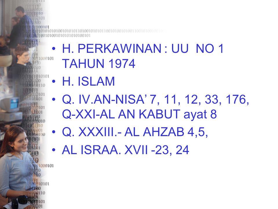 H. PERKAWINAN : UU NO 1 TAHUN 1974