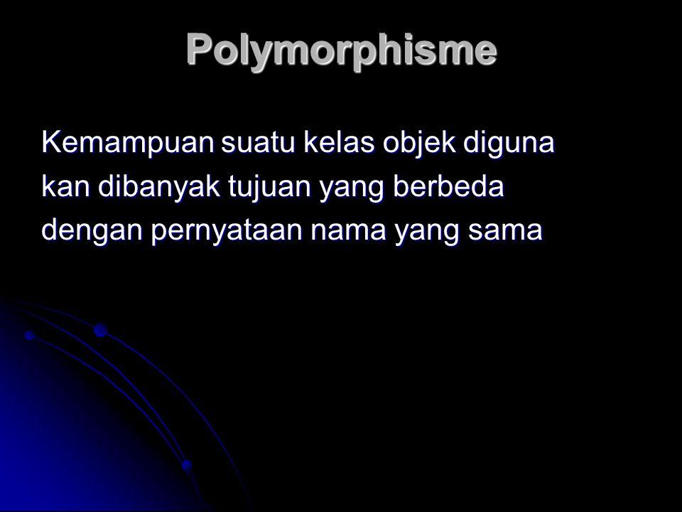 Polymorphisme Kemampuan suatu kelas objek diguna