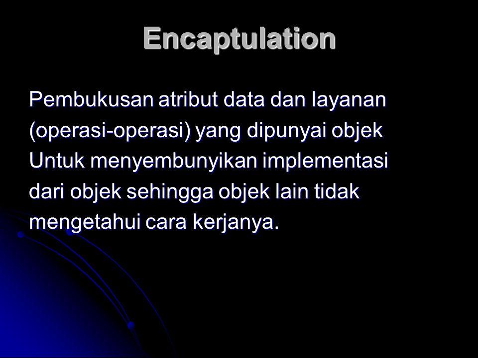 Encaptulation Pembukusan atribut data dan layanan