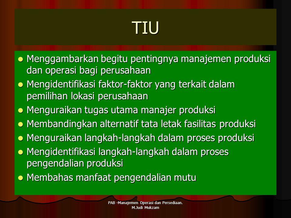 PAB -Manajemen Operasi dan Persediaan. M.Judi Mukzam