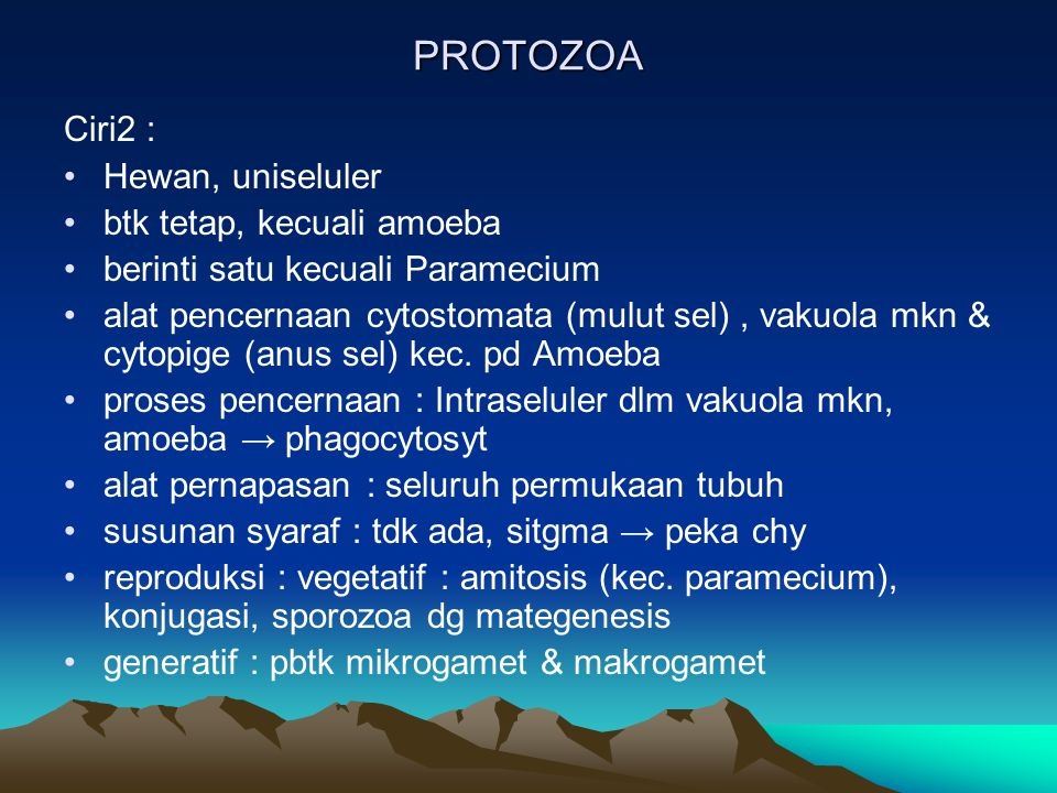 PROTOZOA Ciri2 : Hewan, uniseluler btk tetap, kecuali amoeba