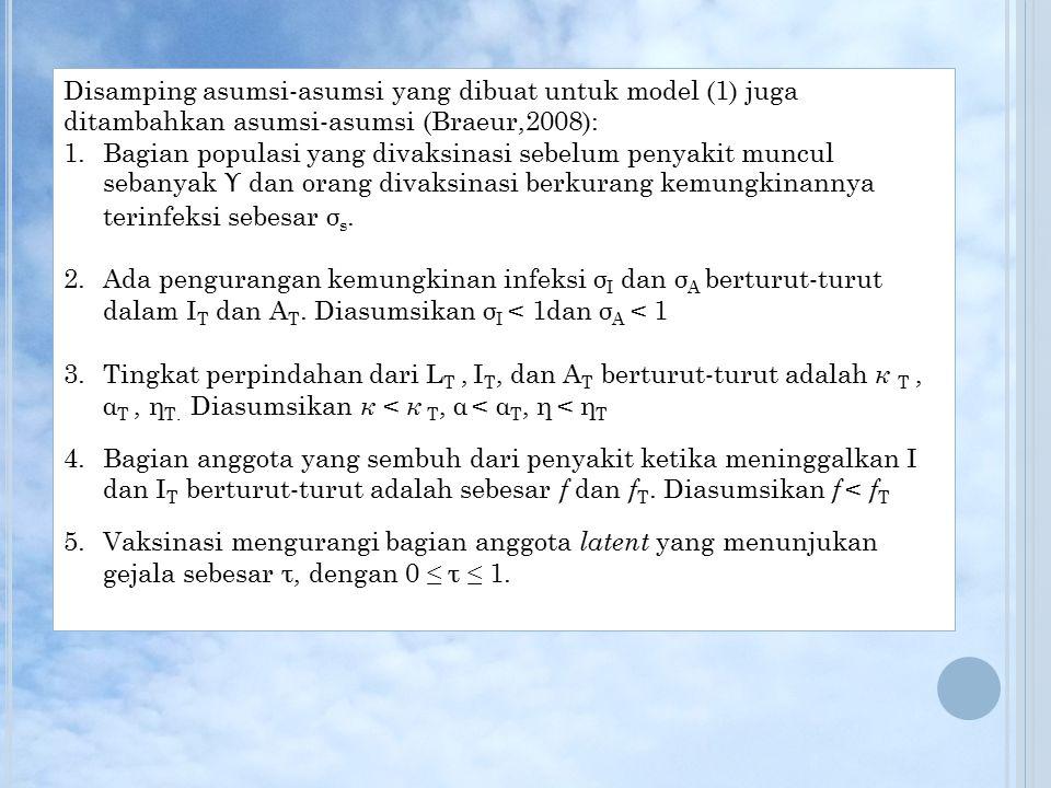 Disamping asumsi-asumsi yang dibuat untuk model (1) juga ditambahkan asumsi-asumsi (Braeur,2008):