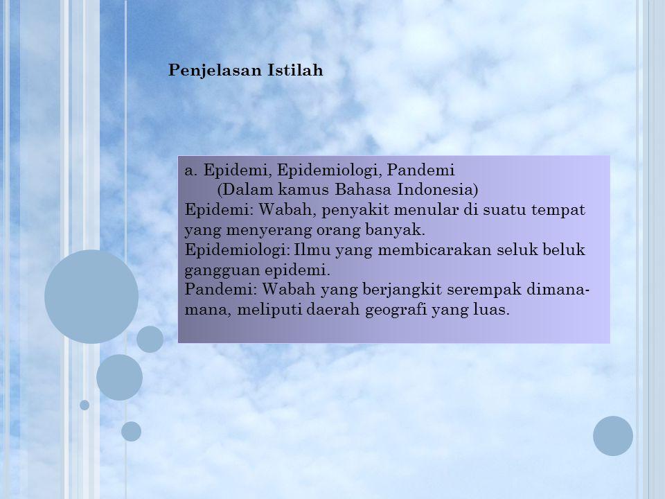 Penjelasan Istilah a. Epidemi, Epidemiologi, Pandemi. (Dalam kamus Bahasa Indonesia)