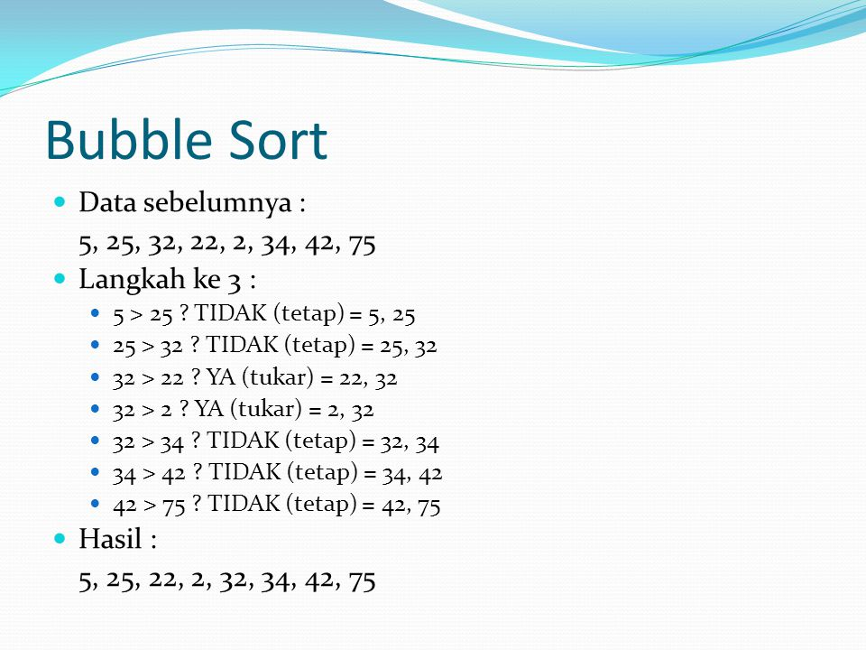 Bubble Sort Data sebelumnya : 5, 25, 32, 22, 2, 34, 42, 75