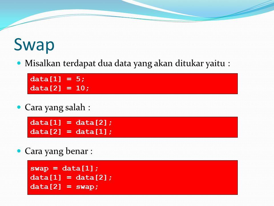 Swap Misalkan terdapat dua data yang akan ditukar yaitu :