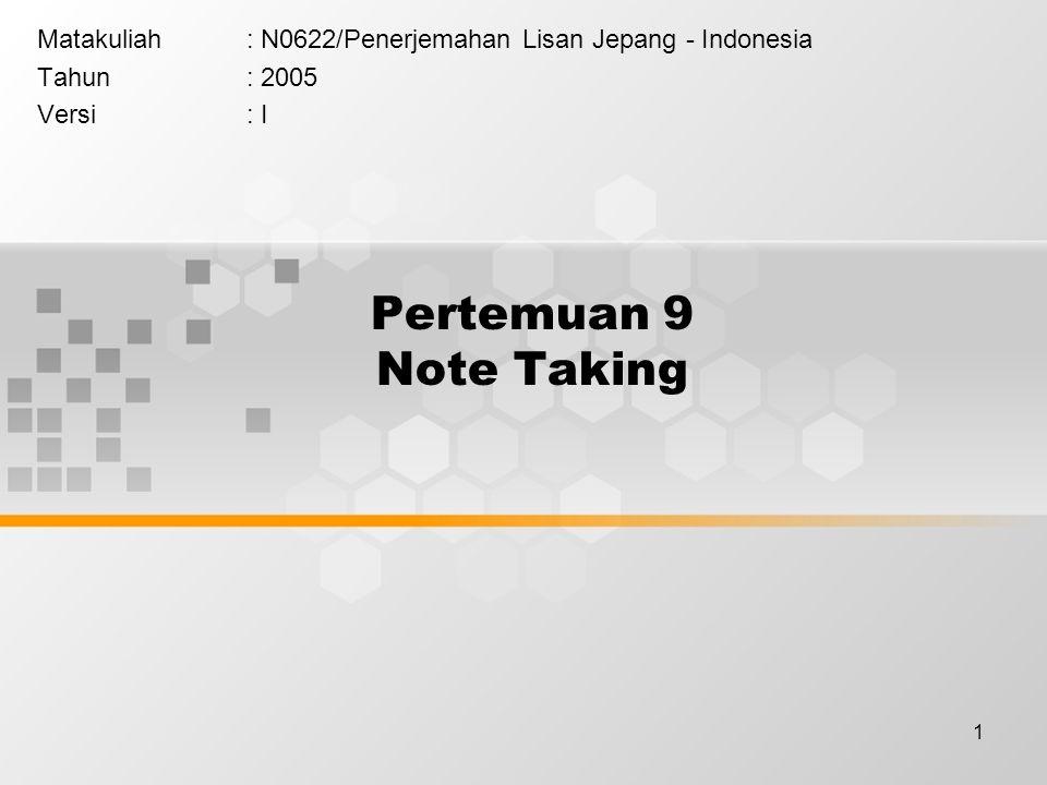 Matakuliah : N0622/Penerjemahan Lisan Jepang - Indonesia