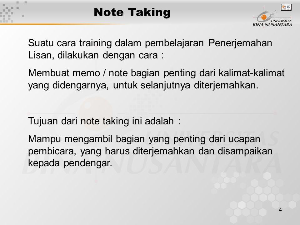 Note Taking Suatu cara training dalam pembelajaran Penerjemahan Lisan, dilakukan dengan cara :