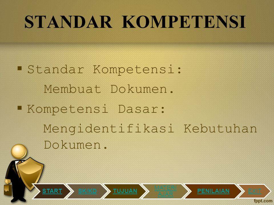 STANDAR KOMPETENSI Standar Kompetensi: Membuat Dokumen.