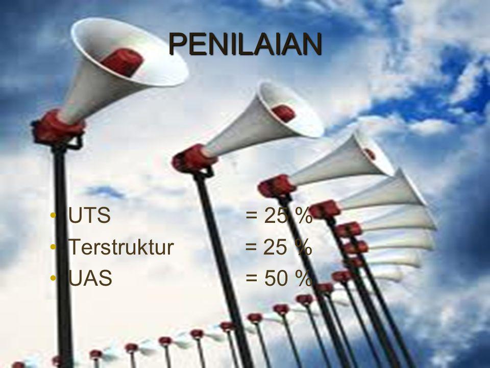 PENILAIAN UTS = 25 % Terstruktur = 25 % UAS = 50 %