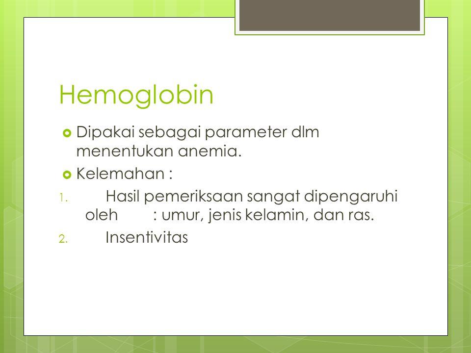 Hemoglobin Dipakai sebagai parameter dlm menentukan anemia.