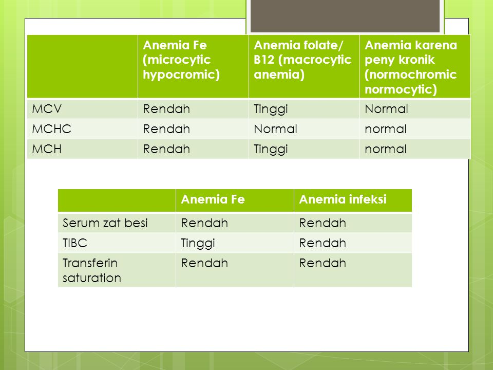 Anemia Fe (microcytic hypocromic)