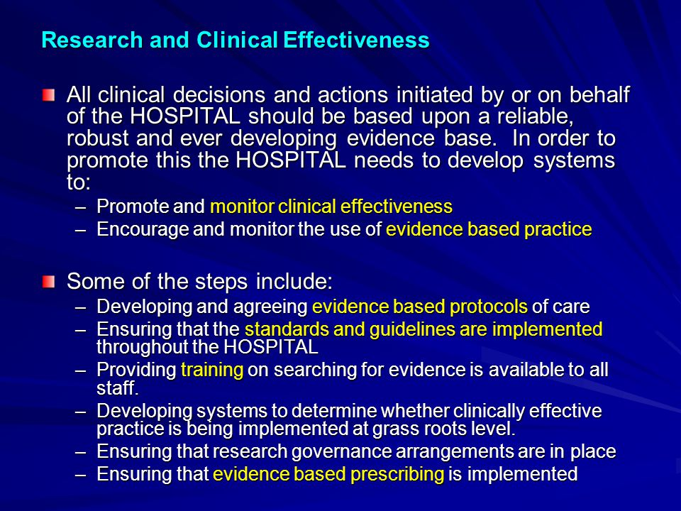 Research and Clinical Effectiveness
