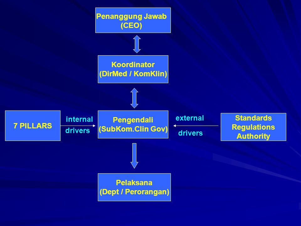 Penanggung Jawab (CEO) Koordinator. (DirMed / KomKlin) 7 PILLARS. Pengendali. (SubKom.Clin Gov)