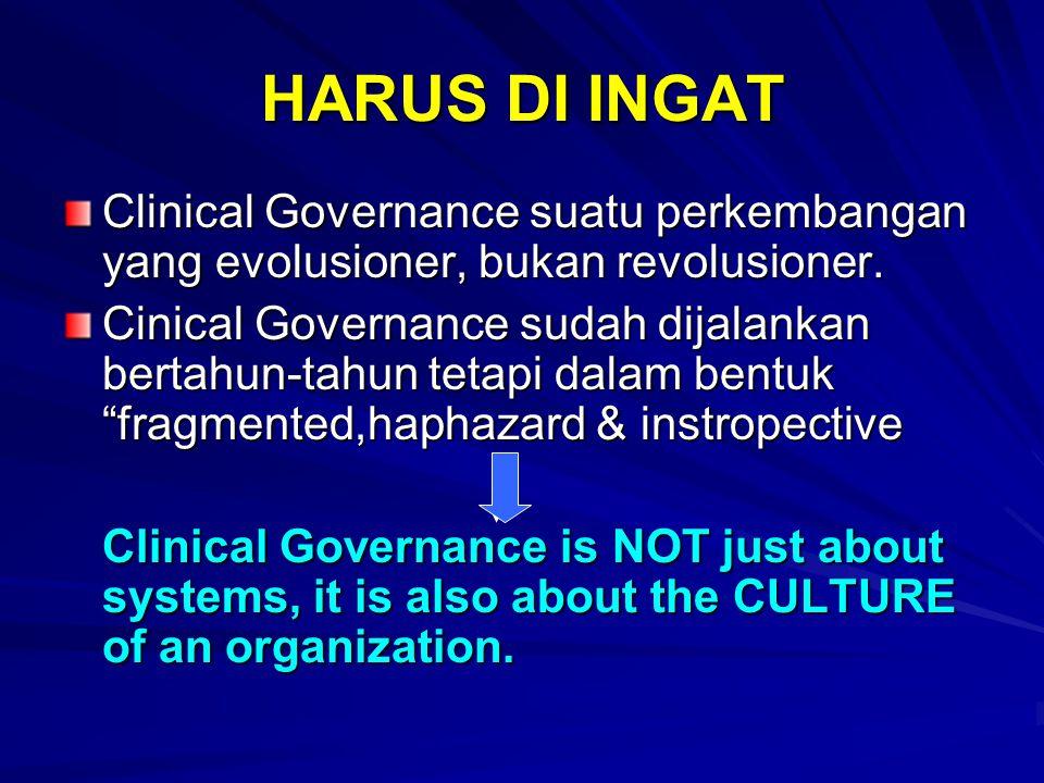 HARUS DI INGAT Clinical Governance suatu perkembangan yang evolusioner, bukan revolusioner.