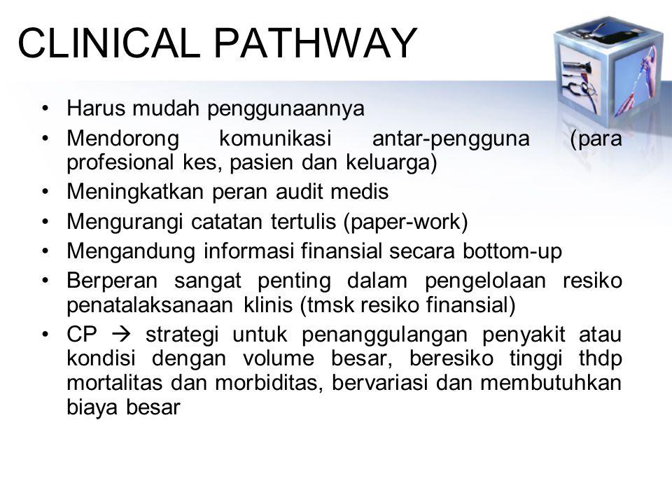 CLINICAL PATHWAY Harus mudah penggunaannya