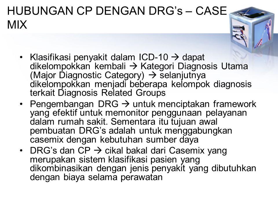 HUBUNGAN CP DENGAN DRG's – CASE MIX