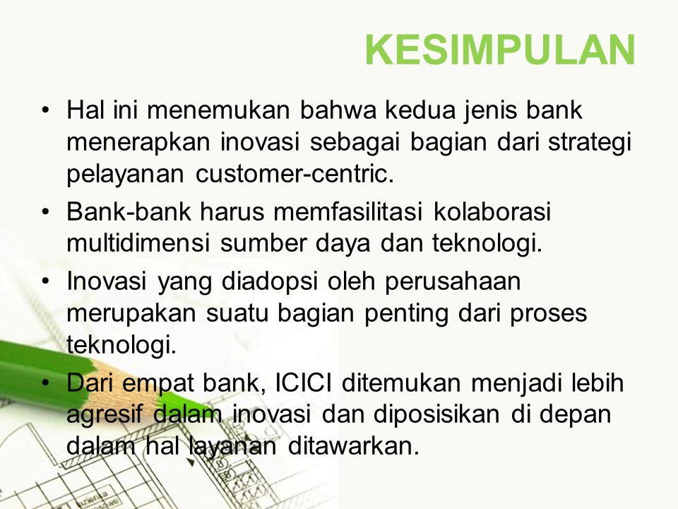KESIMPULAN Hal ini menemukan bahwa kedua jenis bank menerapkan inovasi sebagai bagian dari strategi pelayanan customer-centric.