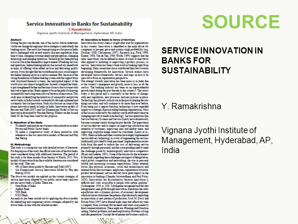 SOURCE SERVICE INNOVATION IN BANKS FOR SUSTAINABILITY Y.