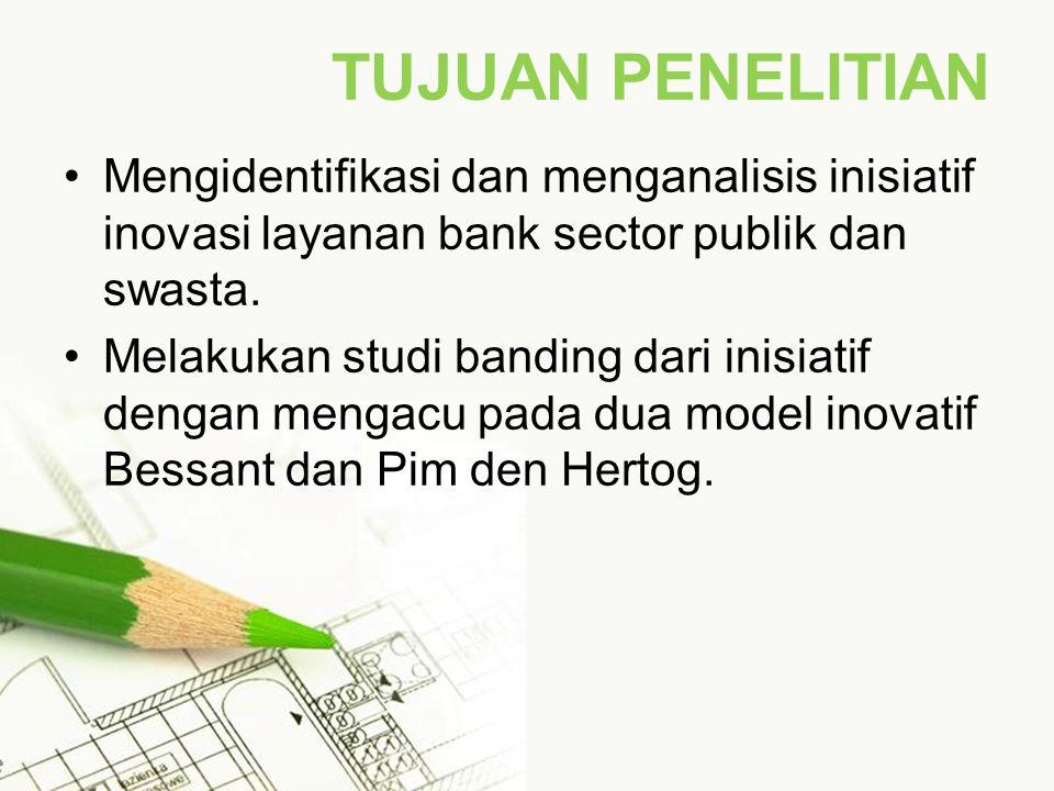 TUJUAN PENELITIAN Mengidentifikasi dan menganalisis inisiatif inovasi layanan bank sector publik dan swasta.