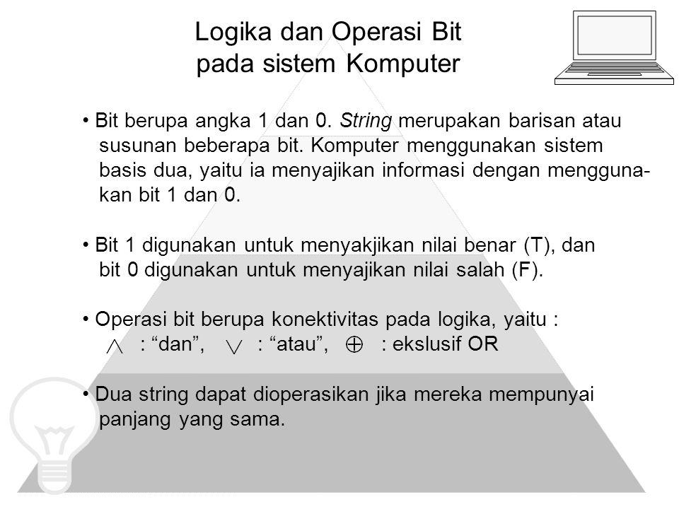 Logika dan Operasi Bit pada sistem Komputer