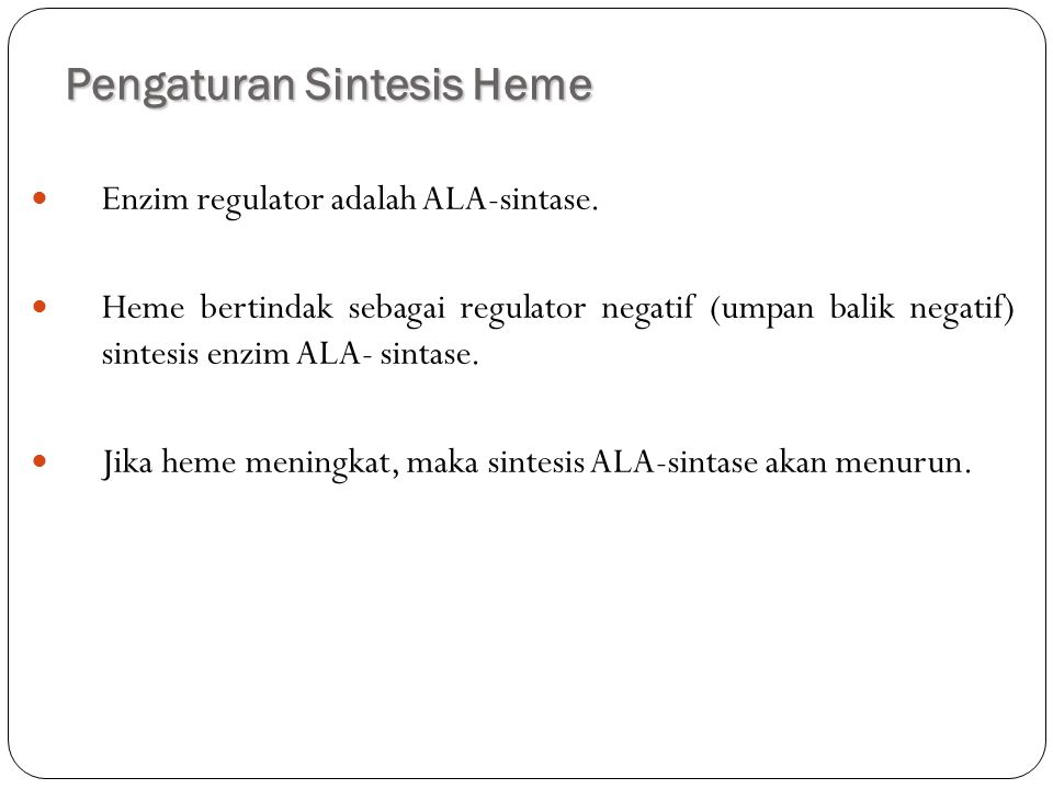 Pengaturan Sintesis Heme