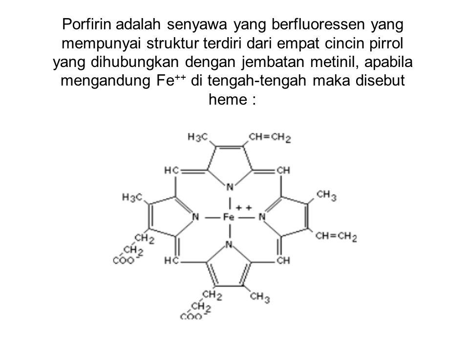 Porfirin adalah senyawa yang berfluoressen yang mempunyai struktur terdiri dari empat cincin pirrol yang dihubungkan dengan jembatan metinil, apabila mengandung Fe++ di tengah-tengah maka disebut heme :