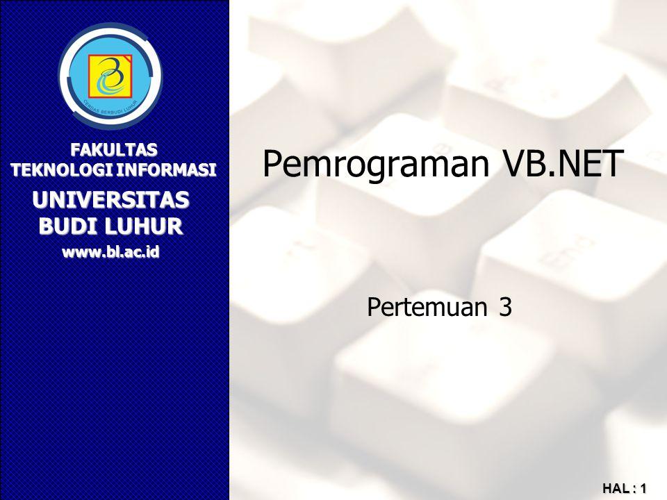Pemrograman VB.NET Pertemuan 3