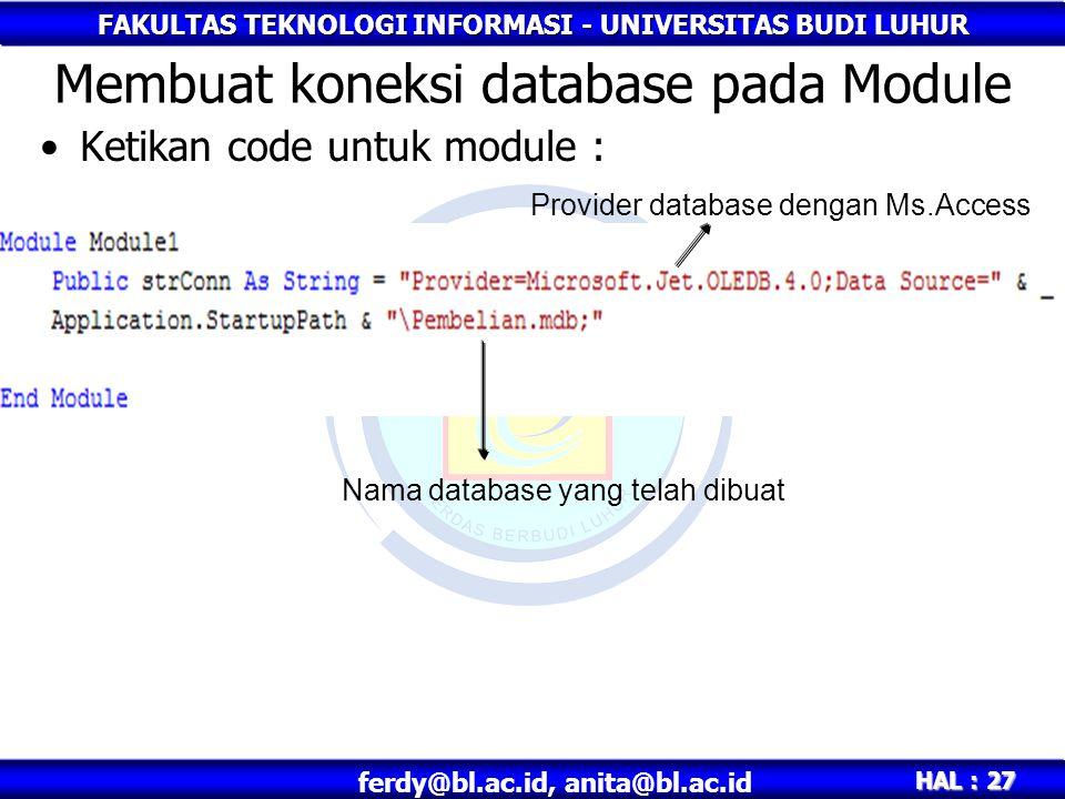 Membuat koneksi database pada Module