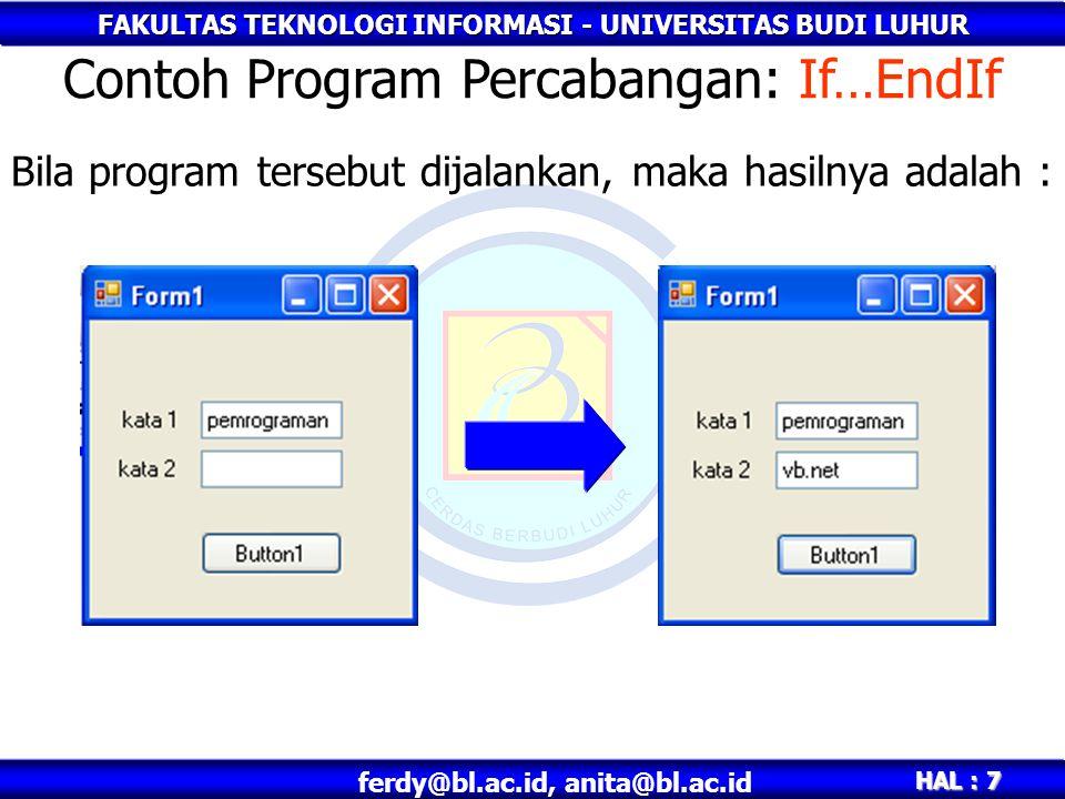 Contoh Program Percabangan: If…EndIf