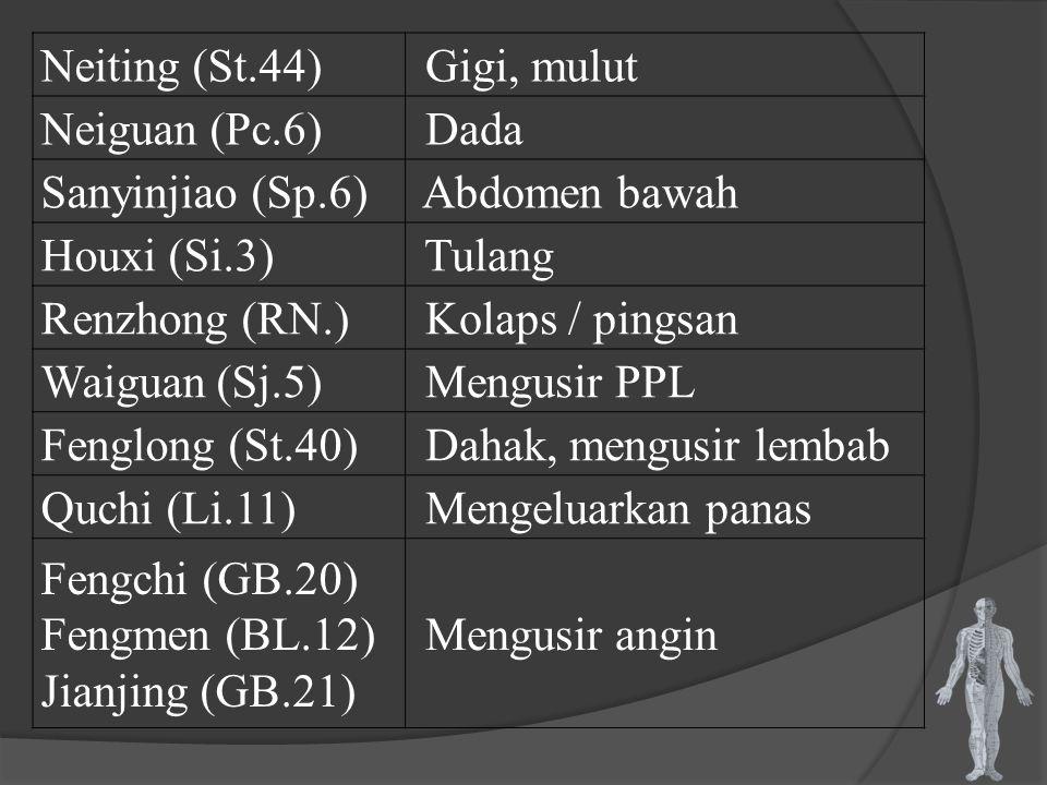 Neiting (St.44) Gigi, mulut. Neiguan (Pc.6) Dada. Sanyinjiao (Sp.6) Abdomen bawah. Houxi (Si.3)