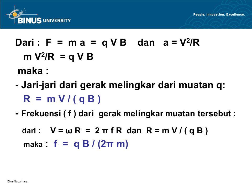 Dari : F = m a = q V B dan a = V2/R m V2/R = q V B maka :